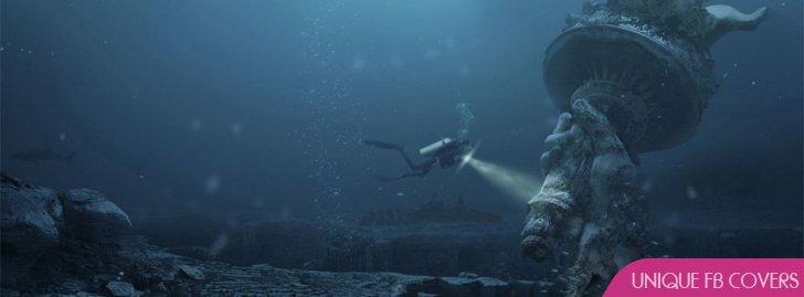 Statue Sunken Sea Facebook Cover